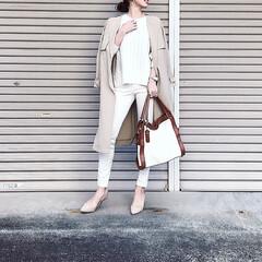 ホワイトコーデ/おでかけ/ファッション 今日は出張なのでホワイトのワントーンでき…