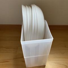 お皿収納/パントリー/キッチン収納/暮らし/100均/カップボード収納 大きめなお皿は100均のファイルボックス…