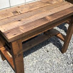 ウッドデッキ/庭/机/テーブル/手作り机/手作り/... ガーデンファニチャーDIY①♪2×4材(…(1枚目)