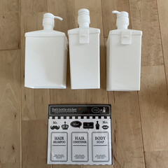 詰め替えボトル/お風呂収納/シャンプーボトル/100均/キャンドゥ キャンドゥの袋のまま詰め替えできるシャン…