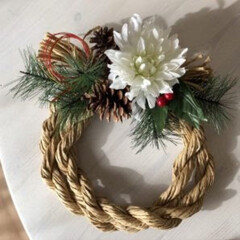 しめ縄リース/DIY/ハンドメイド/雑貨/100均/ダイソー/... ダイソーの紙の紐と造花で、しめ縄リースd…
