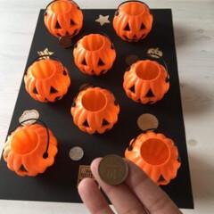 ハロウィンゲーム/子供と一緒に/ゲーム/ハロウィンかぼちゃ/ハロウィン飾り/ハロウィングッズ/... 100均のミニかぼちゃが、ラッピングやデ…