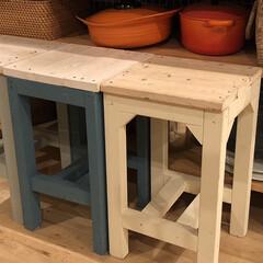 日曜大工/椅子 /スツール/DIY キッチンカウンターの椅子。 1×1材と、…