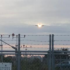 夕暮れ/飛行機/空港 この陽が落ちていく時間の風景が好き❣️ …