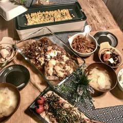 イベント参加/ダイニングテーブルDIY/スリムホットプレート/山善/足場板テーブルdiy/残り物アレンジ/... 買い物に行きそびれて余りもので作った肉豆…