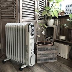 山善 オイルヒーター ホワイト DO-L124 | 山善(電気ストーブ)を使ったクチコミ「diyした部屋に合うように植木鉢カバーも…」
