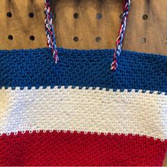 バッグインバッグ/かぎ針編み/雑貨/ハンドメイド/100均 トリコロールカラーのバッグインバッグ作り…(3枚目)
