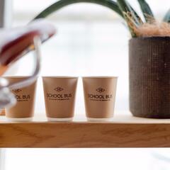 スクールバス空間設計/コーヒーカップ/オリジナルロゴ/ロゴスタンプ/コーヒー/グリーン/... スクールバス空間設計のロゴ入りコーヒーカ…