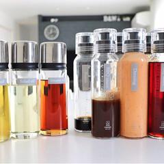 収納/整理整頓/すっきり暮らす/シンプルモダン/シンプルな暮らし/シンプルインテリア/... 冷蔵庫の調味料ボトルとオイルボトルのラベ…