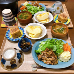 ふたりごはん/おうちごはん/和食ご飯/セリア/100均/無印良品/... 生姜焼きが食べたくなって。 玉ねぎ多めに…