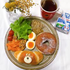 パンプレート/朝ごはん/おうちカフェ/ワンプレート/おうちごはん ヨーグルッペをパケ買い。 かわいいー。レ…