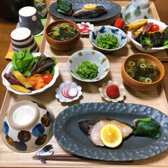和食ご飯/おうちごはん/ふたりごはん/食事情/セリア/100均/... ぶりの塩焼き。 塩焼きにハマってます。シ…