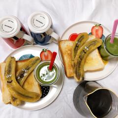 朝ごはん/ワンプレート/ふたりごはん/おうちカフェ/無印良品/暮らし/... バナナソテートースト。 甘くて美味しかっ…(1枚目)