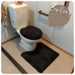 ヘリンボーン床/フロアシート/DIY/住まい/リフォーム/掃除 前々から気になってたトイレ&洗面所の床。…