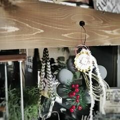 ハンドメイド/簡単DIY/しめ飾り/DIY/100均/ダイソー/... 100均アイテムで簡単締め飾り風リース❥…(1枚目)