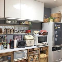 リメイク/キッチン背面収納/グレー壁紙/壁紙/壁紙屋本舗/limiaキッチン同好会/... こんばんは(* ´ ェ `*)♥ わが家…