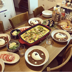おうちごはん/パーティー/簡単レシピ/簡単/おばけカレー/クッキング/... 👻Happy Halloween🎃 ハロ…