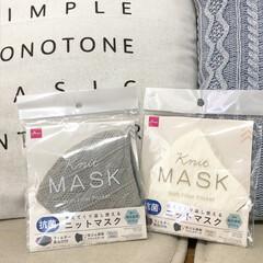 洗えるマスク/マスク/チェック柄/チェック/ニット/冬マスク/... 毎日かかせないマスク。 ダイソーで可…