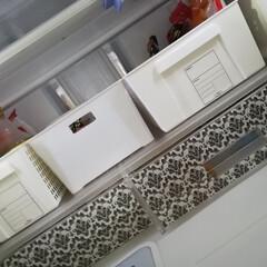 マスキングテープ/チルド室/冷蔵庫おしゃれ/モノトーン/100均/セリア/... チルド室にマスキングテープを張り付けた!…