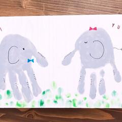 アルファベットスタンプ/バターミルクペイント/端材/ゾウ/手形アート/100均