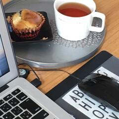 おやつタイム/仕事中の息抜き/パソコンスペース/紅茶/マフィン/手作りおやつ/... 今日から11月。 外もいちだんと寒くなり…(1枚目)