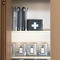 収納/片付け/整理整頓/クローゼット収納/郵便物収納/引き出し収納/... キッチン横のクローゼット。 日用品や文具…