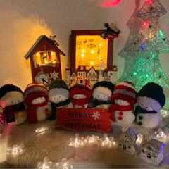 セリア/クリスマス 時計雑貨/イルミネーションフォトフレーム/雑貨/雪だるま/クリスマス/... 昨年作った雪だるまのクリスマスバージョン…(2枚目)
