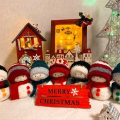 セリア/クリスマス 時計雑貨/イルミネーションフォトフレーム/雑貨/雪だるま/クリスマス/... 昨年作った雪だるまのクリスマスバージョン…