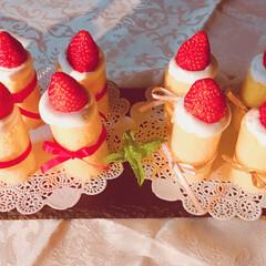 ケーキ/イチゴ/スイーツ/フード/ハンドメイド キャンドルケーキを作ってみました。 フィ…
