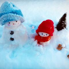 雪だるま/雪/ハンドメイド 朝、起きたら雪が積もってたので、 リアル…