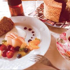 アールグレイ紅茶/シフォンケーキ/ハンドメイド/スイーツ 今日は紅茶のシフォンケーキを作ってみまし…