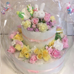 オムツケーキ/出産祝い 娘のお友達にまた、可愛い女の子の赤ちゃん…