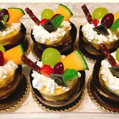 フルーツケーキ/チョコレート/水玉風船/スイーツ/ハンドメイド チョコレートのカップケーキを作ってみまし…