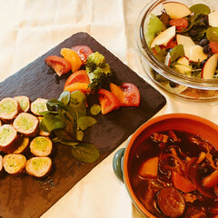豚肉/キャベツ/ボルシチ/フルーツサラダ/春野菜/フード/... 春キャベツの肉巻き、フルーツサラダ、ボル…