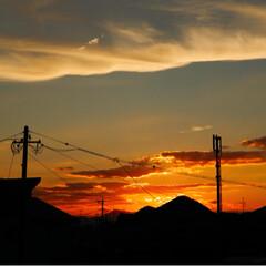 きゅうり🥒/夕焼け 今日もまた、猛暑でした。 台風はどうなる…