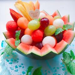 マスカット/リンゴ/夕張メロン/梨/すいか🍉/フルーツ お盆も終わりで、夏も終盤に入るのでしょう…