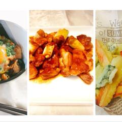 ゴーヤと魚肉ソーセージの天ぷら/豚味噌のとろろ丼/鶏もも肉のバーベキューソース炒め/フード/ハンドメイド/おうちごはん ( ゚▽゚)/コンバンワ Oneさんか…