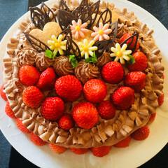チョコレートケーキ/スイーツ/イチゴ🍓/ハンドメイド 🍓イチゴがおいしい時期に、イチゴのものを…