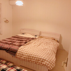 ベッド/寝室/住まい/暮らし/フォロー大歓迎 寝室pic(❁´ω`❁)  奥の右側は2…