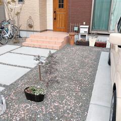 砂利/砂利敷き/砕石/駐車場/ガーデニング/フォロー大歓迎 お庭記録。。♪  ピンク色砕石2袋を撒い…