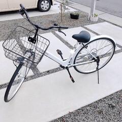 誕生日プレゼント/自転車/12歳/白い自転車/プレゼント 娘の自転車♪ 別角度から(*´罒`*) …