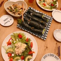 海苔巻き/おうちごはん/住まい/暮らし/フォロー大歓迎 いつかの夜ご飯(❁´ω`❁)  サーモン…