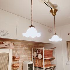 キッチン照明/ミルクガラスシェード/ミルクガラス/照明/フォロー大歓迎/キッチン/... キッチン照明♪  引っ越しして来た時に、…