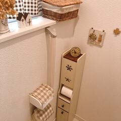 トイレ/トイレットペーパーボックス/チェック柄/ナチュラルインテリア/トイレインテリア 週末のお休みにトイレの念入りお掃除! お…