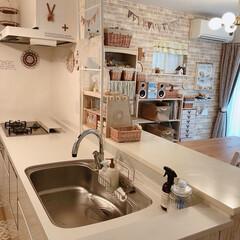 ナチュラルキッチン/コンロ周り/通気口カバー/食洗機洗剤入れ/クッキージャー/ガラスジャー/... こんばんは*  我が家のキッチンですが、…(1枚目)