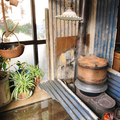 暖炉/餅つき/フォロー大歓迎/冬/おうち 実家帰省中(o^^o)  玄関で餅つき用…