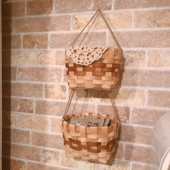2連かご/かご/カゴ/DIY/キッチン/雑貨/... キッチンにある2連カゴは、ダイソーの取っ…(1枚目)