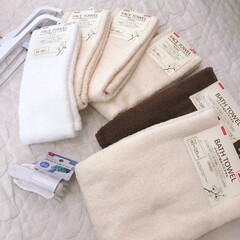 ダイソー/バスタオル/タオル/雑貨/暮らし/100均 ダイソー購入品♩ 200円のタオルと50…