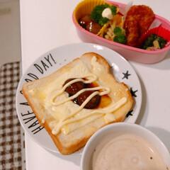 朝食/朝ごはん/朝ごはん食パン/住まい/暮らし 昨日の朝ごパン(❁´ω`❁)  パンにと…