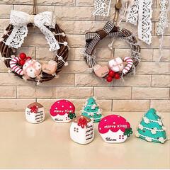 クリスマス/リース/ハンドメイド/紙粘土/おうちオブジェ/ミニハウス/... クリスマスの飾りをハンドメイドしました(…
